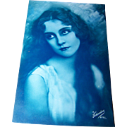 Hauntingly Beautiful Vintage Postcard Portrait of a Pretty Lady Charlie Chaplan Era