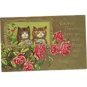 Post Card Kitty Cats mbossed Rose Floral Motif Cordial Greetings
