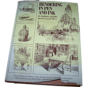 """Over Size Hard Cover   Illustrated Book """" Rendering in Pen and Ink """" A.L. Gupatill"""