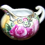 Lovely Small Ceramic Rose Floral  Nippon Era Creamer Gold Decoration