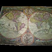 Vintage Reader's Digest reissued 16th Century Map of The World Orbis Terra Compendiosa
