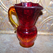 Pretty Vintage Amberina Crackle Glass Pitcher