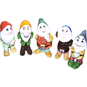 Lot of 5 Hand Painted Ceramic WDP  Walt Disney Productions Dwarf Figurines