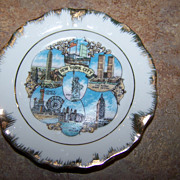 Vintage Miniature Plate / Ashtray  New York  Twin Towers Rockefeller Center