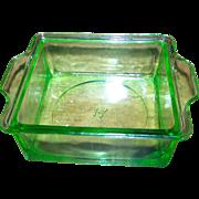 Anchor Hocking  Green Uranium Depression Glass Butter Refrigerator Dish