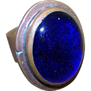 Signed RAFAEL Canada Adjustable Chunky Blue Glass Cab Metal Ring with NOTE