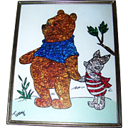 Framed Foil Art of Winnie The Pooh  and Piglet