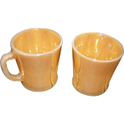 Set of 2 Anchor Hocking Fire King Peach Lustre D Handle Coffee Mugs