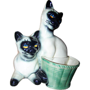 Mid-Century Modern Ceramic Siamese Kitty Cat with Basket Planter Television TV Lamp