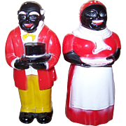 Black Americana Uncle Mose Aunt Jemima Plastic Salt Pepper Shakers F & F Mold Die Workers USA