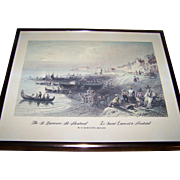 """Framed Vintage W.H.Bartlett Print 1809-1854  """" The St. Lawrence at Montreal  Le Saint Laurent's a Montreal """""""
