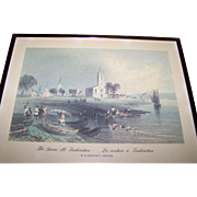 """Framed Print """" The Green At Fredericton La verdure a Fredericton """"W.H. Bartlett 1809"""
