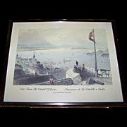 "Framed Print bt W.H. Bartlett 1809-1854  "" View From The Citadel of Quebec  Panorama de La Citadelle a Quebec """