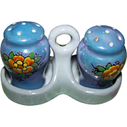 Vintage Floral Motif Lustre Ware Small Ceramic  Salt & Pepper Shakers with Caddy Japan