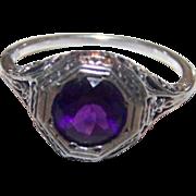 Delicate Gently Worn Gypsy Set Purple Amethyst 925 Sterling Silver Filigree Ring