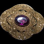 A Vintage Decorative Embossed Purple Amethyst Glass Stone Sash Pin  Original Clasp