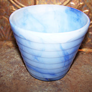 "Vintage AKRO AGATE Glass Blue Swirl Slag Stacked Disc Planter Pot 4"""