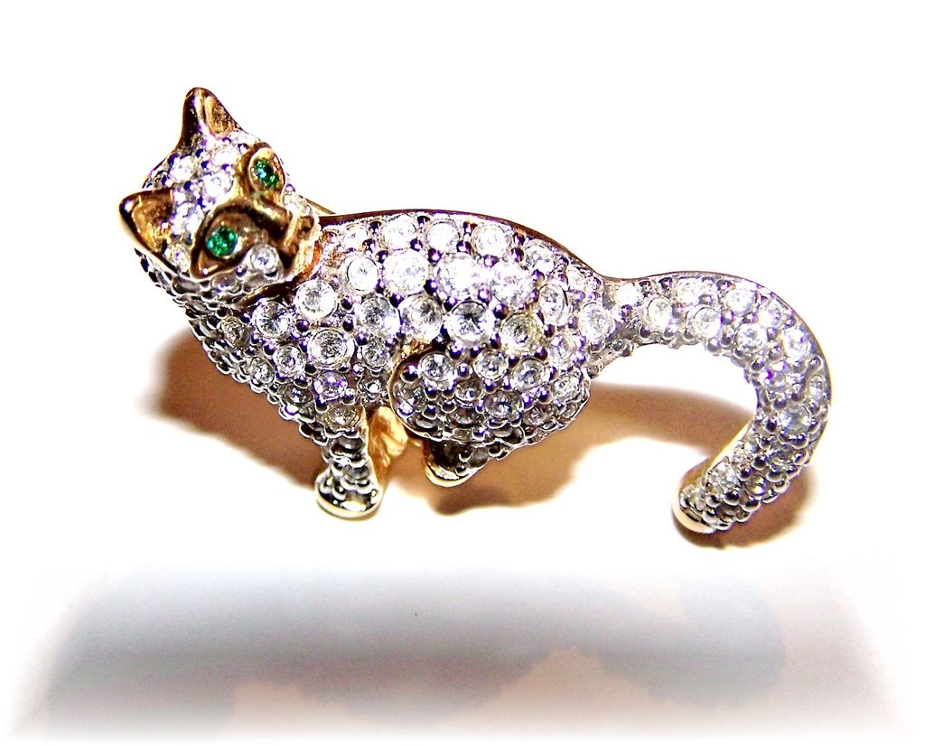Signed Figural Swarovski Pave Kitty  Cat Brooch / Pin  OOP