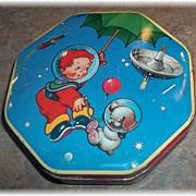 SALE Boy In Space Astronaut  with Puppy Wilkin Cremona  Advertising Tin