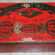 Vintage Medicine Advertising Tin Rival Herb tablets