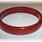Vintage Faceted Glass Bangle Bracelet  Dark Ice Tea