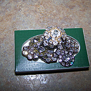 Eight  Floral Motif Metal & Glass Rhinestone Buttons