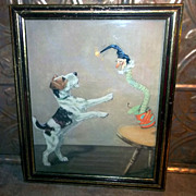 Book Page Print Framed Jack in -the Box Jack Russel Doggie