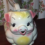Large American Bisque  Clover Bud Pottery Pig Pitcher