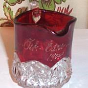 Miniature Ruby Flash Glass Pitcher  / Creamer Feb 1904 Edna Lilan