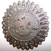 Vintage Hallmarked Silver Filigree Brooch Unique