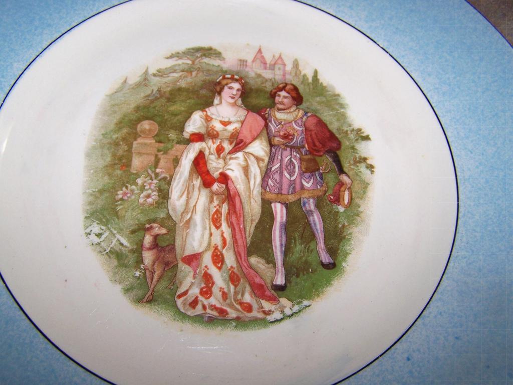 Decorative Romantic Renaissance Couple Castle Dog Plate England