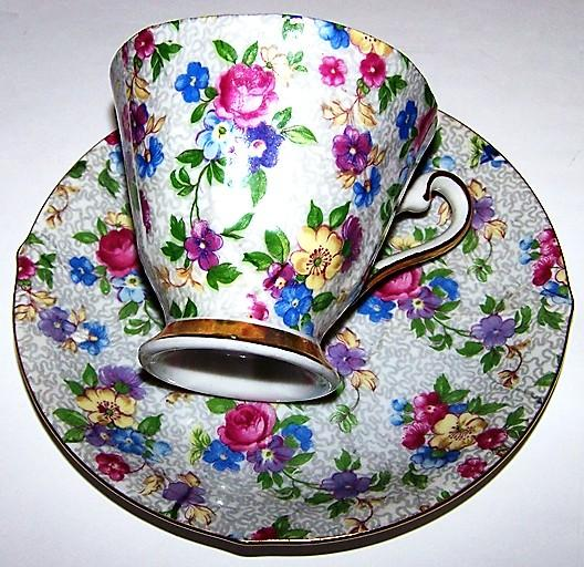 Shafford Hand Decorated Chintz Tea Cup & Saucer Japan