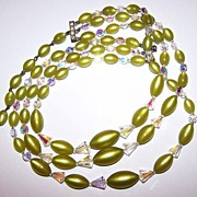 Stranded  Faceted Aurora Borealis Crystal &  Green Moonglow Lucite Bead Necklace