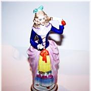 Colorful Sitzendorf Porcelain Colonial Lady Figurine Holding a Fan