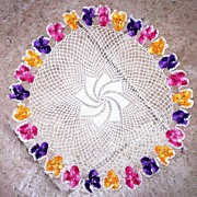 """Vintage Crochet Doily 14"""" across Round Floral Decorations Yellow, Pink, Purple"""