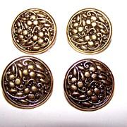 Lot of 4 Vintage Floral 3 Leaf Clover Motif Metal Buttons
