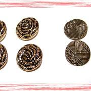 Lot of 8 Decorative Metal / Tin Buttons