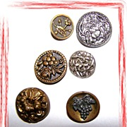 Lot ( 6 ) Art Nouveau Style Vintage Metal / Tin Buttons Decorative
