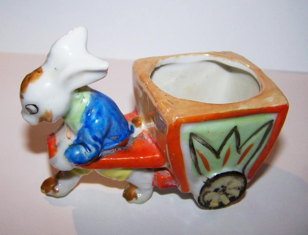Bunny Rabbit Pulling A Cart Egg Cup Hand Painted Japan