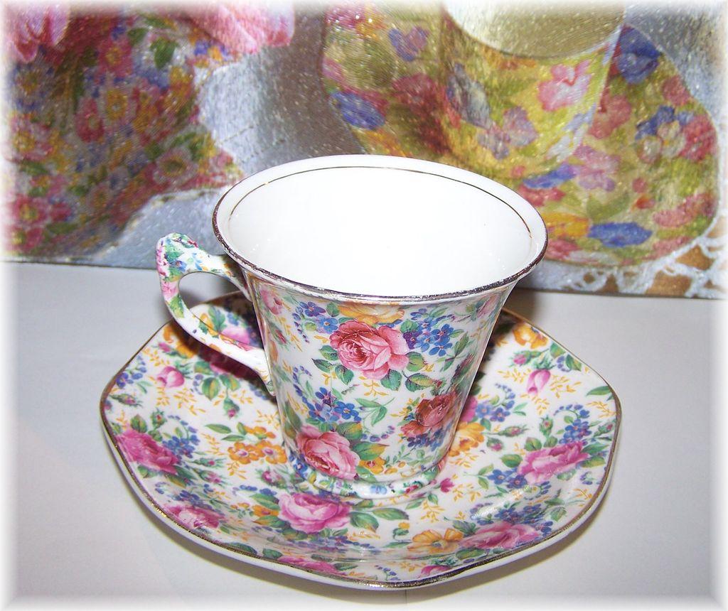 "James Kent  Chintz Tea Cup & Saucer "" Rosalynde """