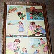 "Vintage Framed School Text Book Print  "" A Naughty Kitten """