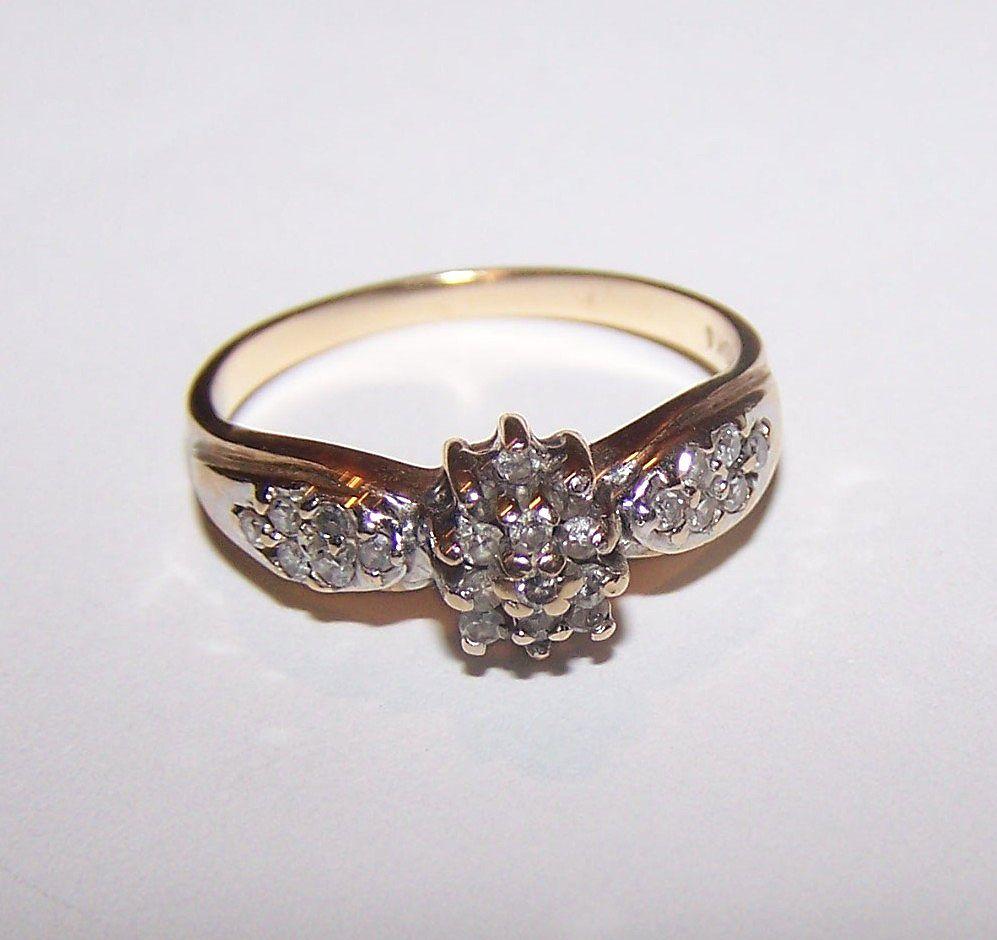 10 K Gold Diamond Promise Engagement  Promise Ring Ladies Size 7