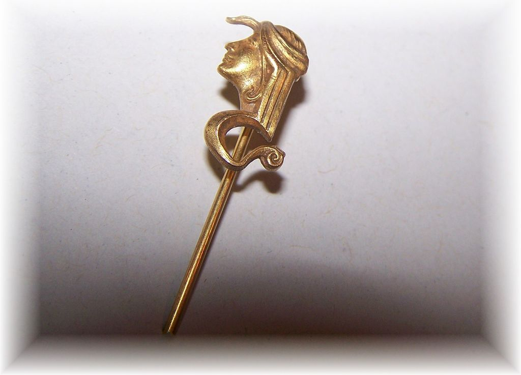 Stunning Vintage Stickpin Egyptian Revival Style Lady Profile Snake