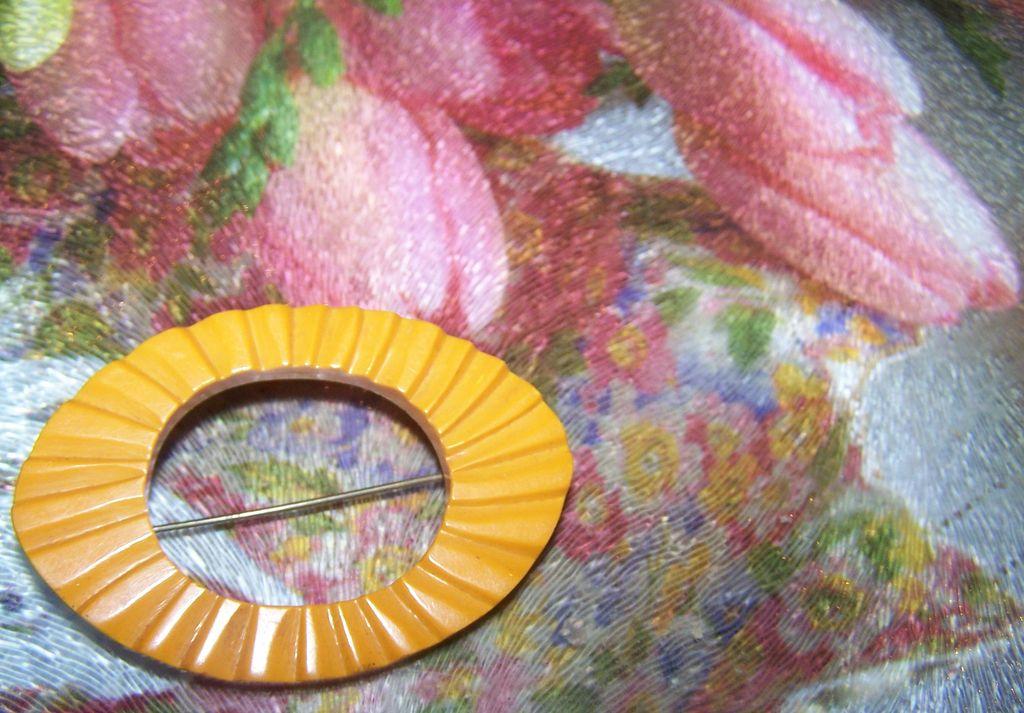 Test Positive Carved Butterscotch Bakelite Pin / Brooch