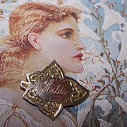 Victorian Era Gold Front Hilda Name Pin / Brooch Leaf Motif