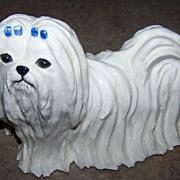 SALE SKS Originals Ceramic Maltese Dog Figurine C. 1974