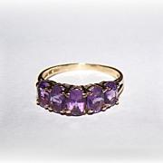 10 ct  Gold Purple CZ Stone Ring Ladies Size 8