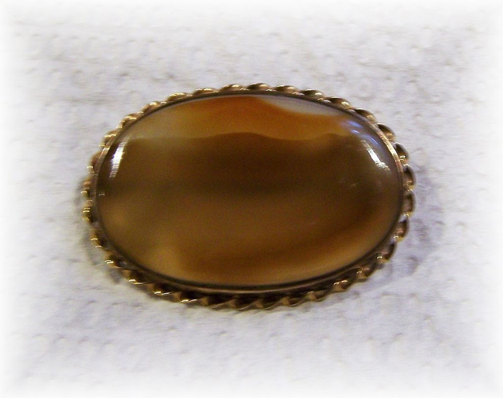 Pretty Vintage Picture Agate Pin / Brooch