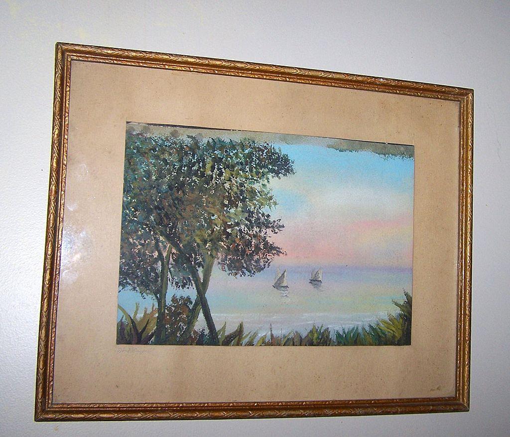 Vintage Framed Water Color Painting Sailing Signed
