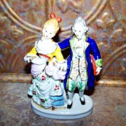 Vintage Ceramic Hand Painted Figurine Colonial Couple Japan